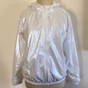 Ideology iridescent hooded rain jacket